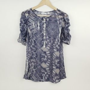 New York & Company Womens Blue Top Size Small